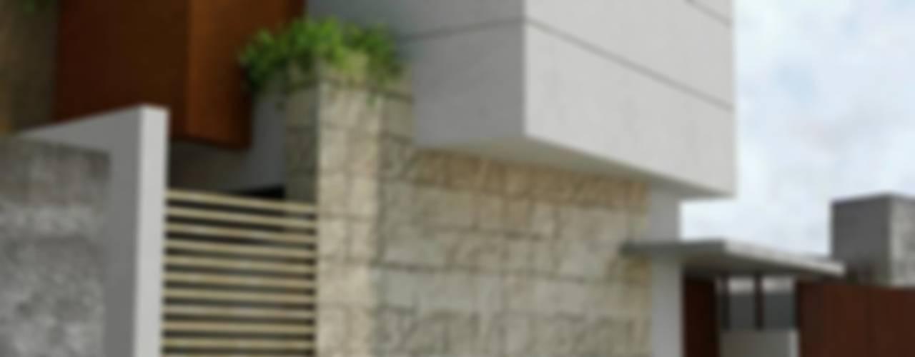 RENDER FACHADA LATERAL: Casas de estilo  por FRACTAL CORP Arquitectura