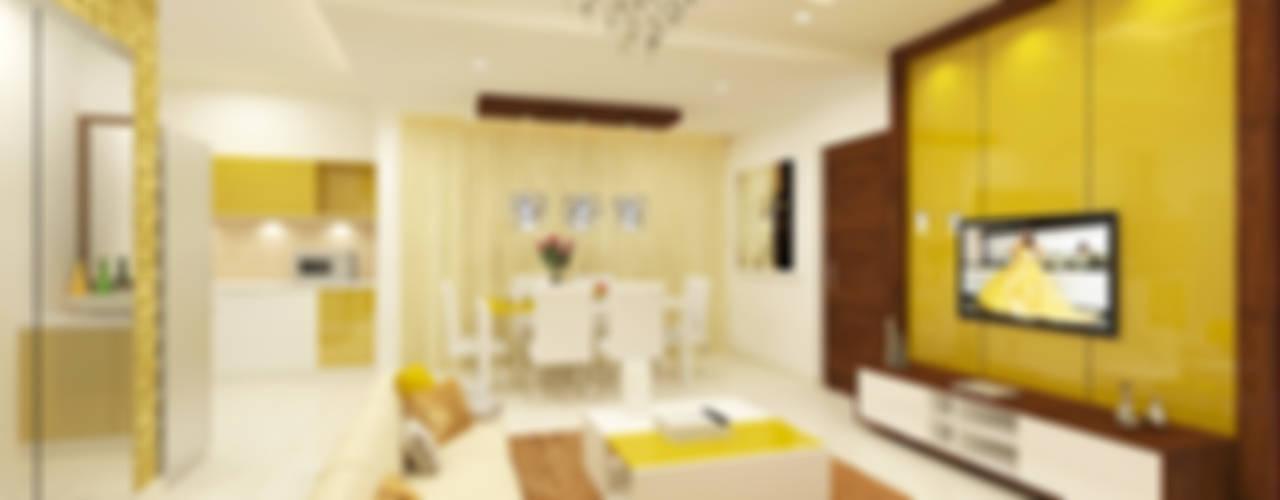 Jain Heights Apartment Interiors, Bangalore. Modern living room by Kredenza Interior Studios Modern