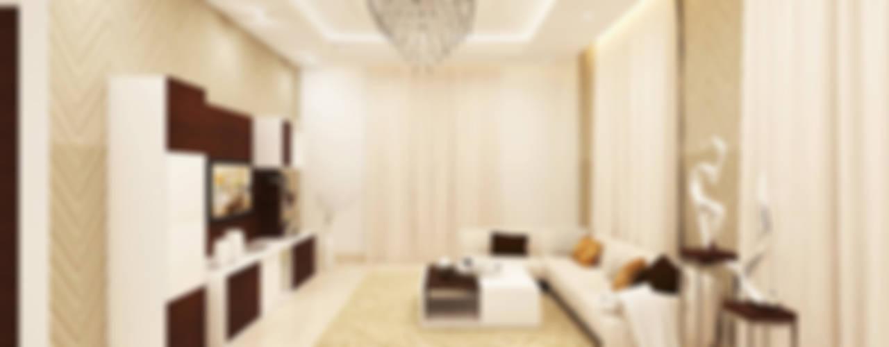Private Residence Interiors at Nagarbhavi, Bangalore. Modern living room by Kredenza Interior Studios Modern