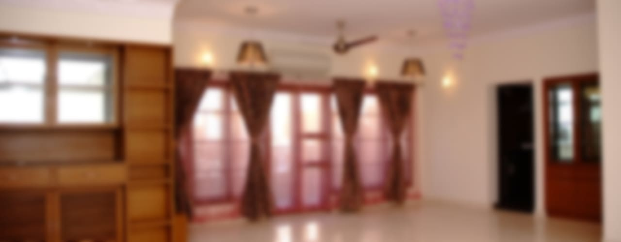 Living Room Interior Design in Bangalore:  Living room by Scale Inch Pvt. Ltd.