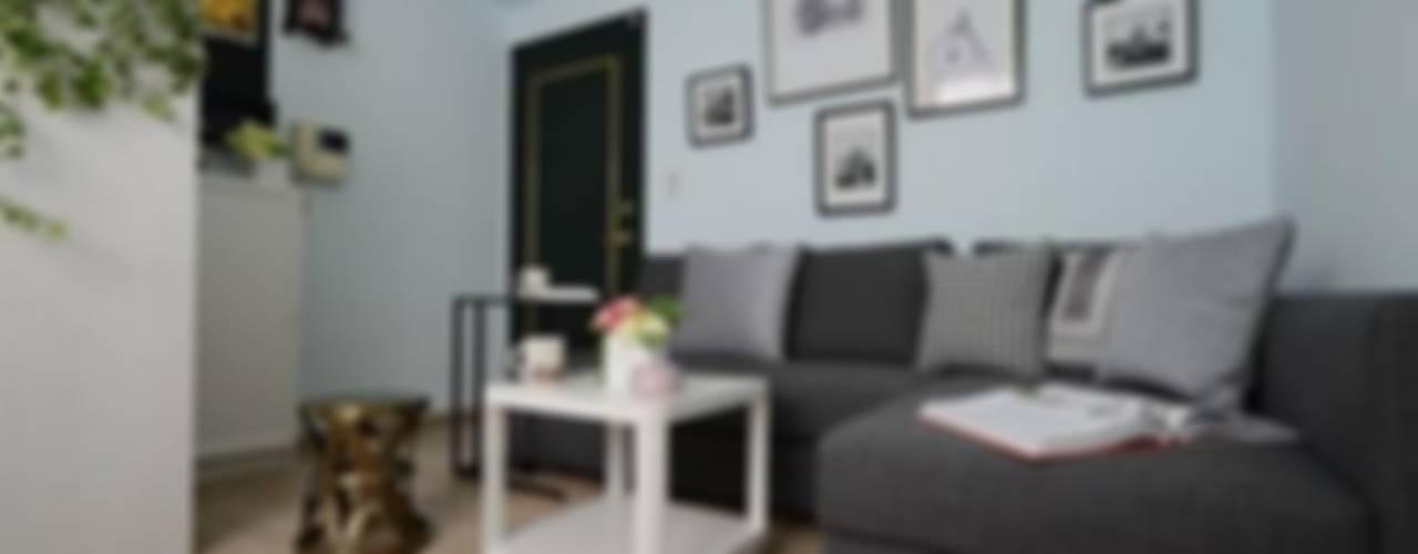 【住宅設計作品】台北內湖-13坪美式休閒風裝潢設計 现代客厅設計點子、靈感 & 圖片 根據 大觀創境空間設計事務所 現代風