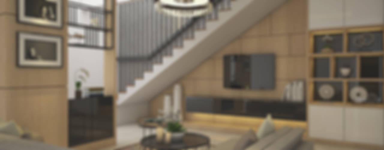 Veon Interior Studio ห้องนั่งเล่น ไม้เอนจิเนียร์ Wood effect