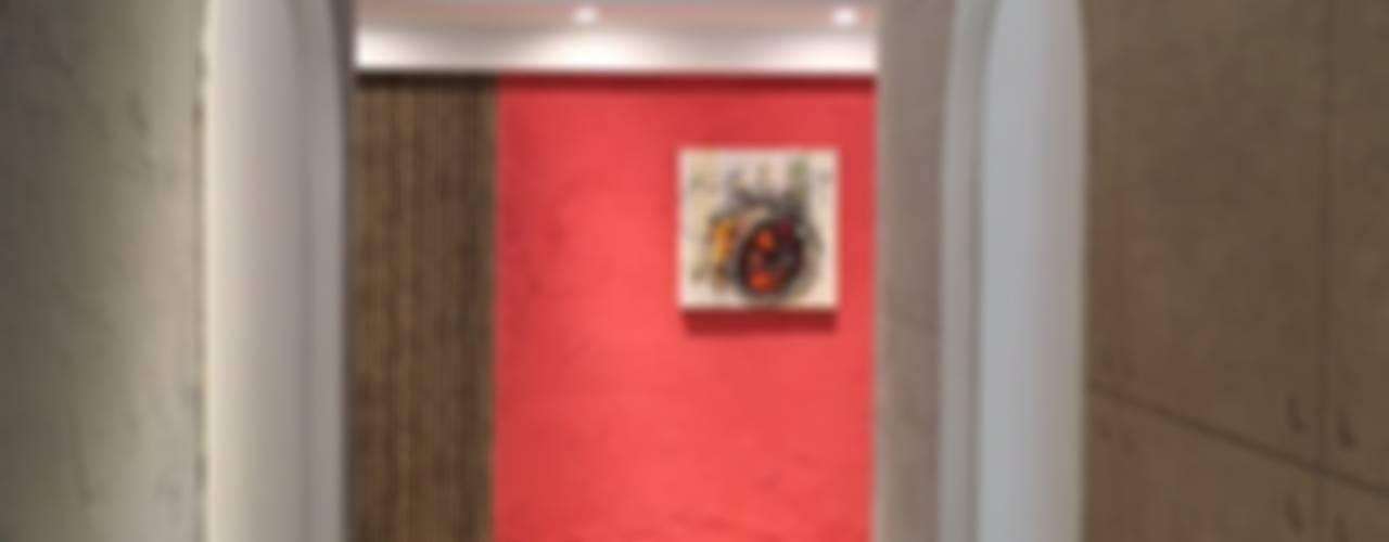 登品空間規劃工程有限公司 Rustic style corridor, hallway & stairs MDF Red