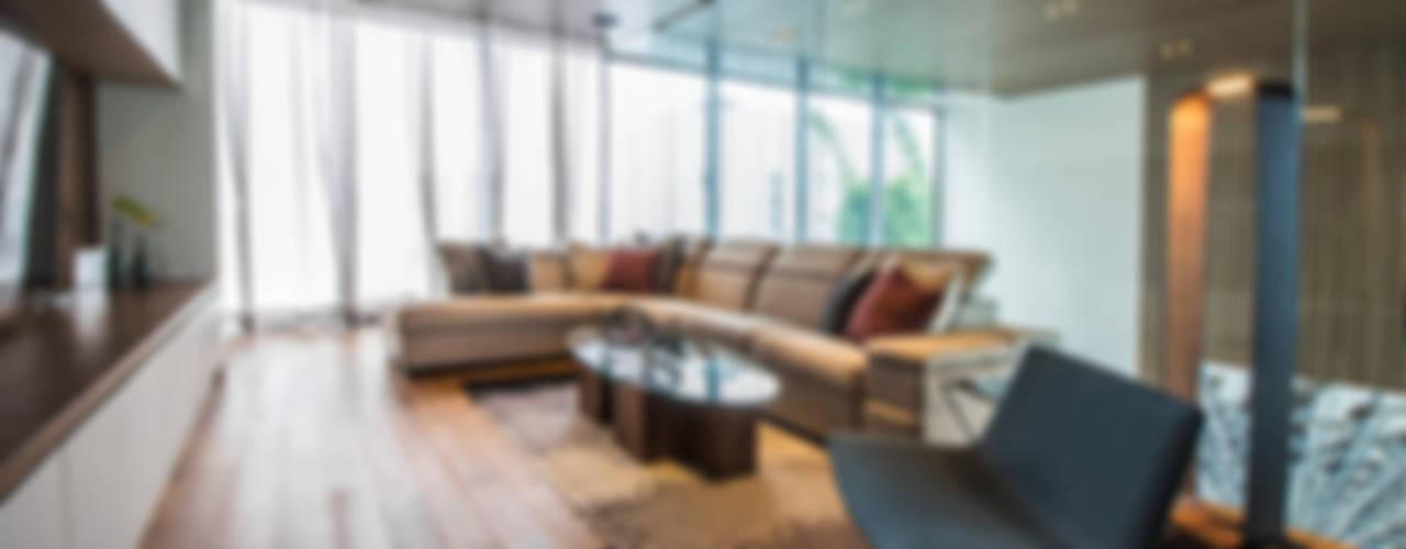 现代客厅設計點子、靈感 & 圖片 根據 IAARQ (Ibarra Aragón Arquitectura SC) 現代風