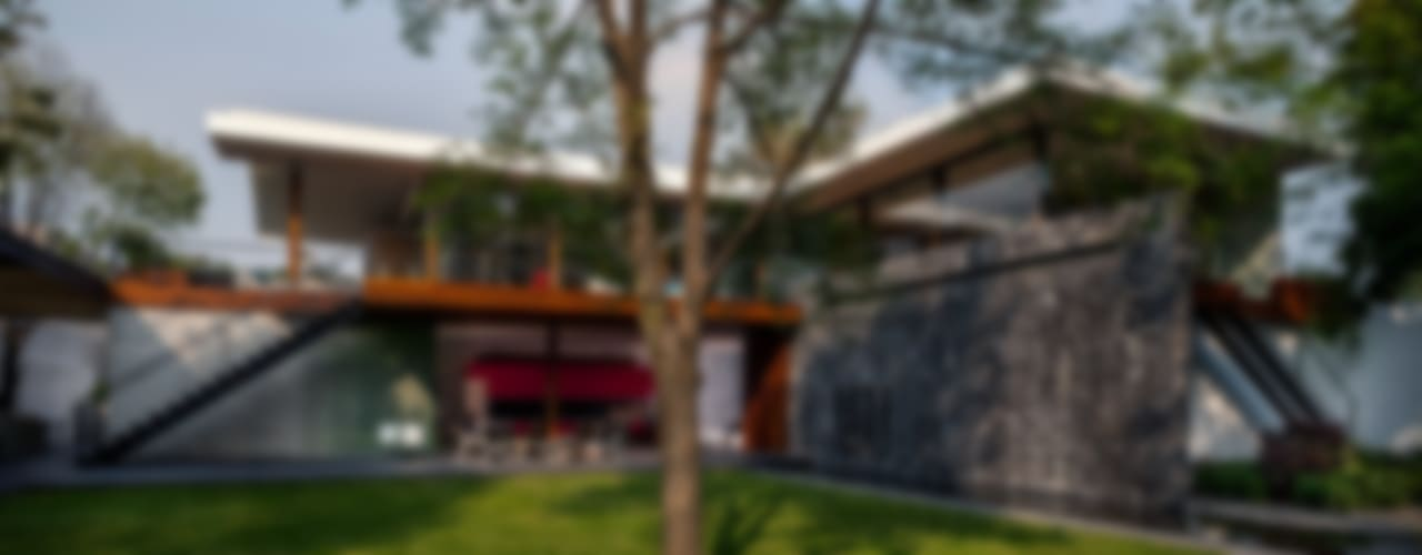 Fachada Interior Jardín: Casas unifamiliares de estilo  por Eduardo Gutiérrez Taller de Arquitectura
