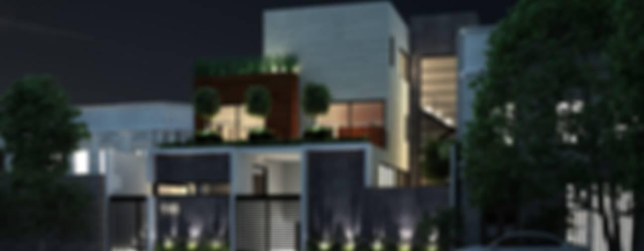Vista Fachada Nocturna: Casas multifamiliares de estilo  por Fi Arquitectos