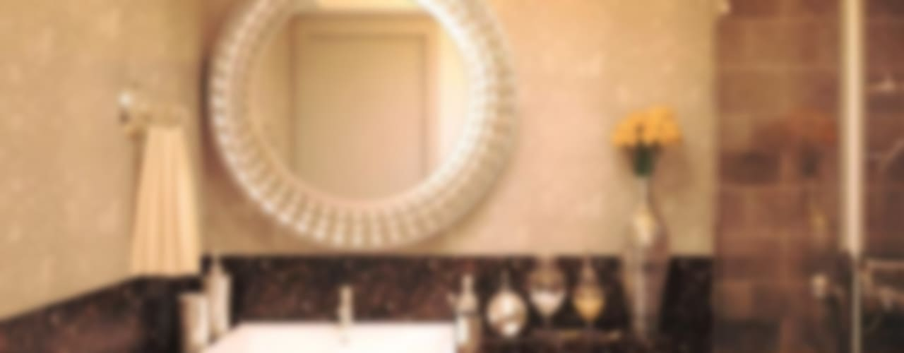 2BHK luxury contemporary flat interiors :  Bathroom by Rhythm  And Emphasis Design Studio