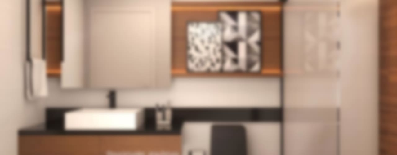 Banheiro moderno Laura Mueller Arquitetura + Interiores Banheiros modernos Madeira Preto