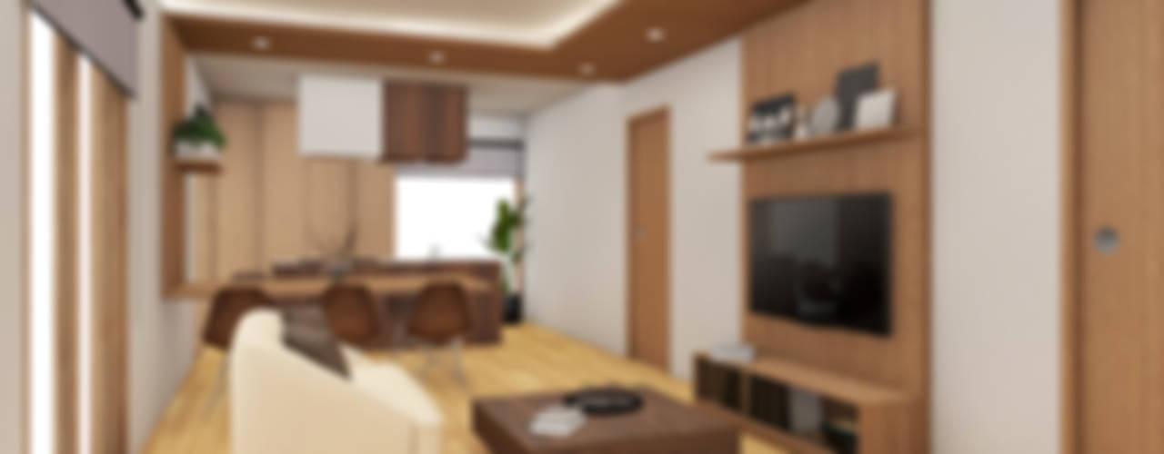 HOUSE ŌKUBO: Soggiorno in stile in stile Moderno di Studio Maiden