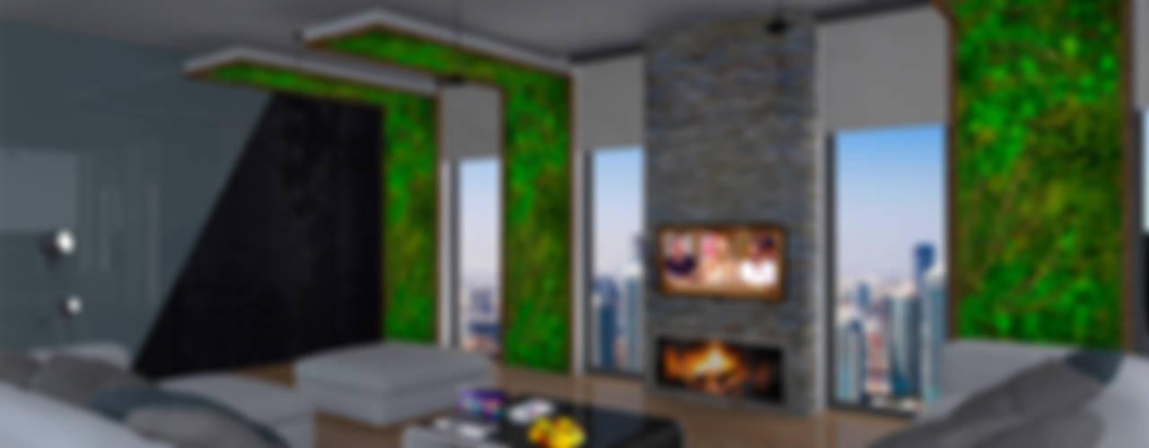 SKY İç Mimarlık & Mimarlık Tasarım Stüdyosu – Bodrum Villa Projesi:  tarz Oturma Odası