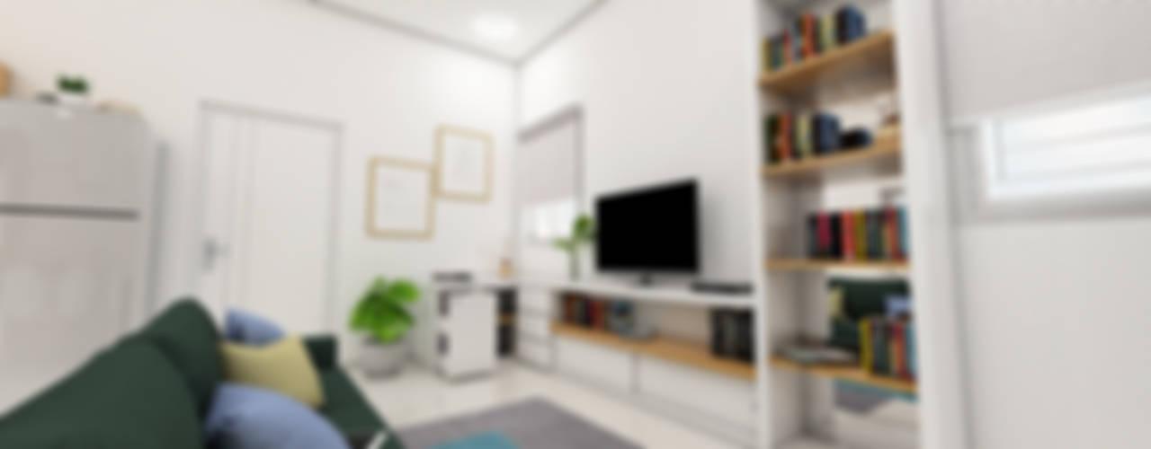Interior Design TR Apartment:  Ruang Keluarga by Tigha Atelier