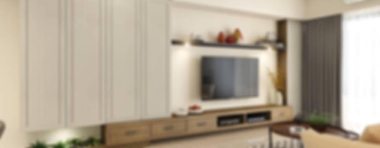 木質溫馨 愜意鄉村宅邸--富山居:  客廳 by 木博士團隊/動念室內設計制作