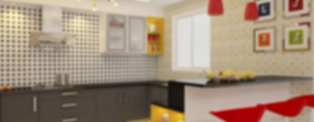 Apartment Interiors:  Kitchen by Honeybee Interior Designers ,