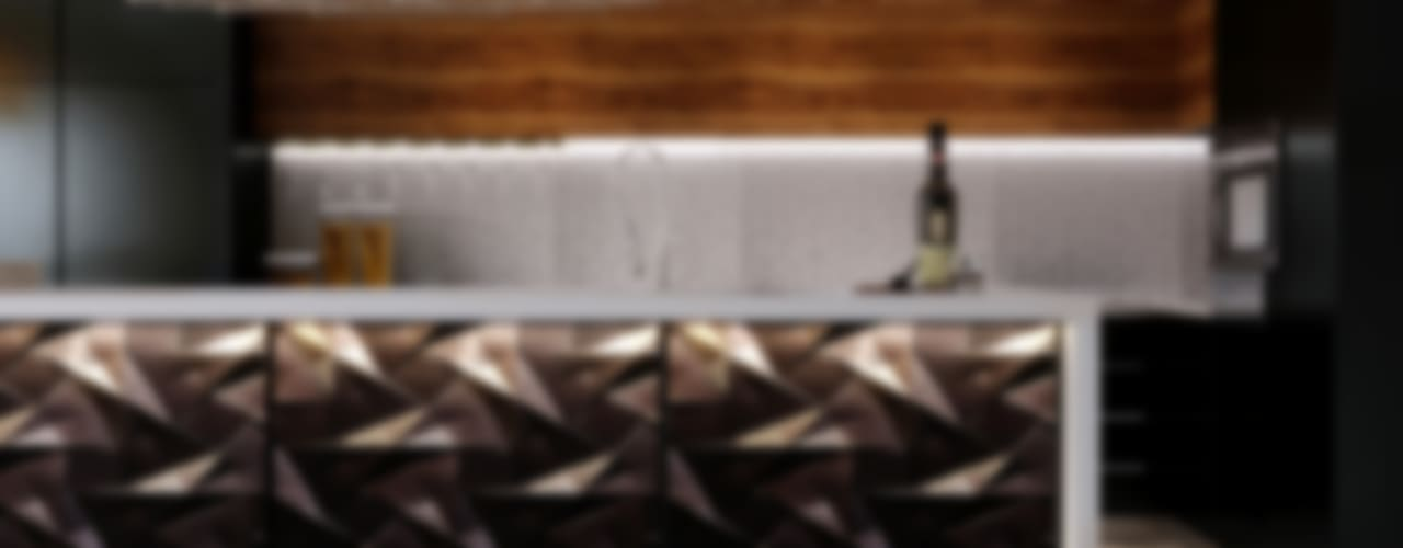 Villa-  reception-open kitchen :  مطبخ تنفيذ Swan Studio