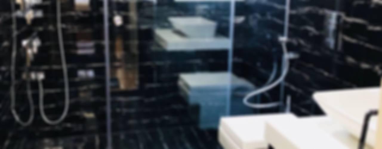 4bhk Apartment Paimaish Modern bathroom Tiles Black