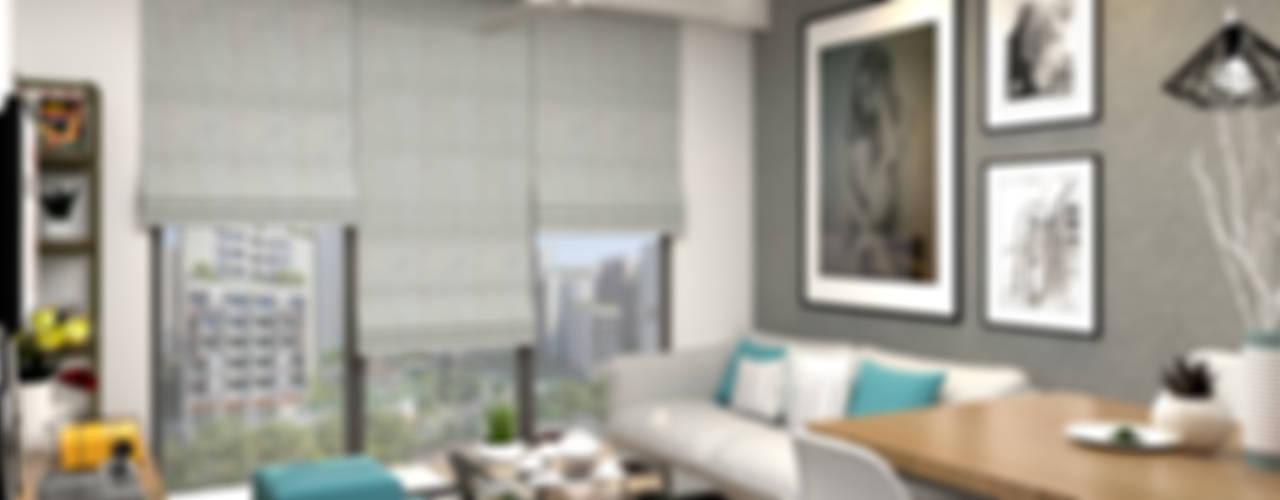 Kim Keat Link Swish Design Works Modern living room Grey