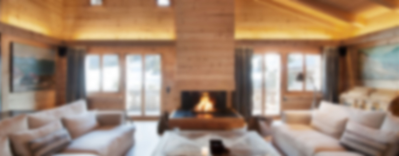 Chalet Gstaad Ardesia Design Rustik Oturma Odası