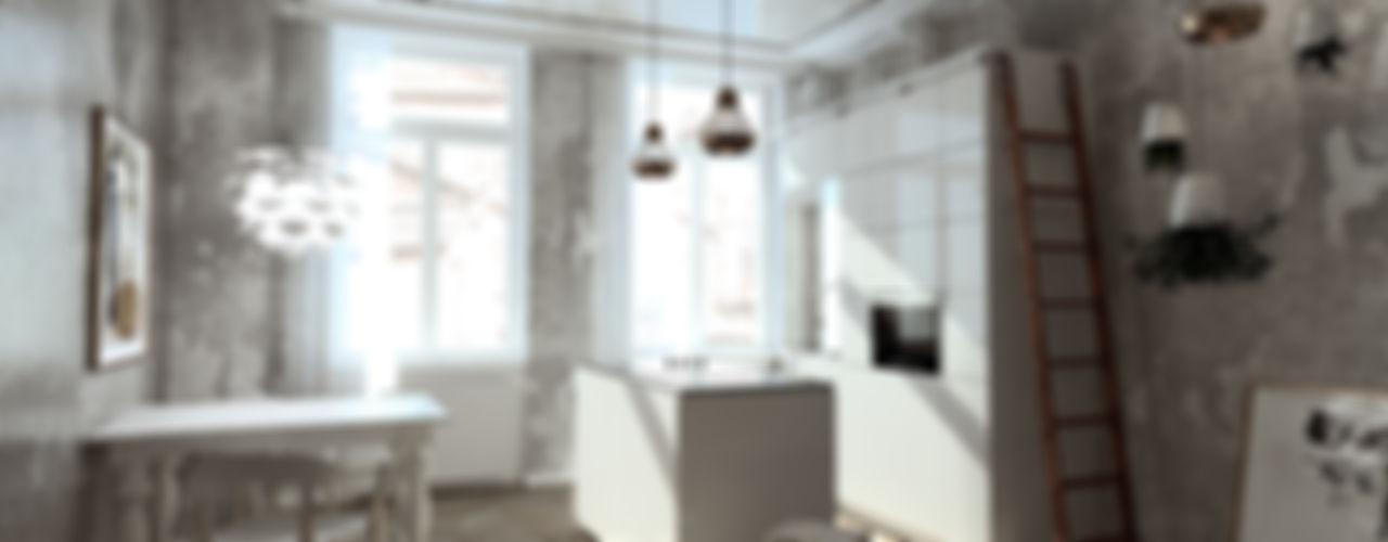 Schnellentwürfe Kochen-Essen-Wohnen habes-architektur Minimalistische Wohnzimmer