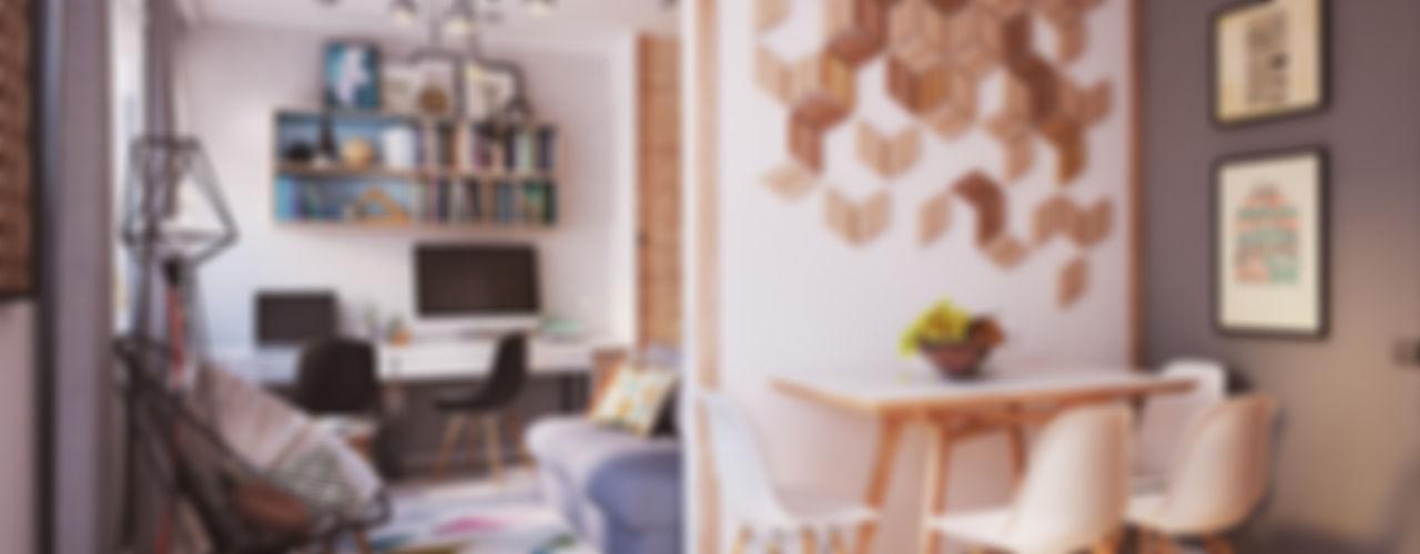 """APARTMENT """"VERBI"""" Polygon arch&des Phòng khách phong cách tối giản"""
