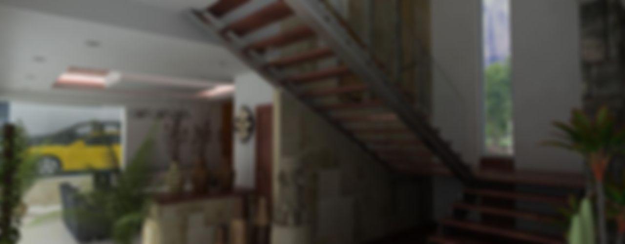 OLLIN ARQUITECTURA Modern corridor, hallway & stairs
