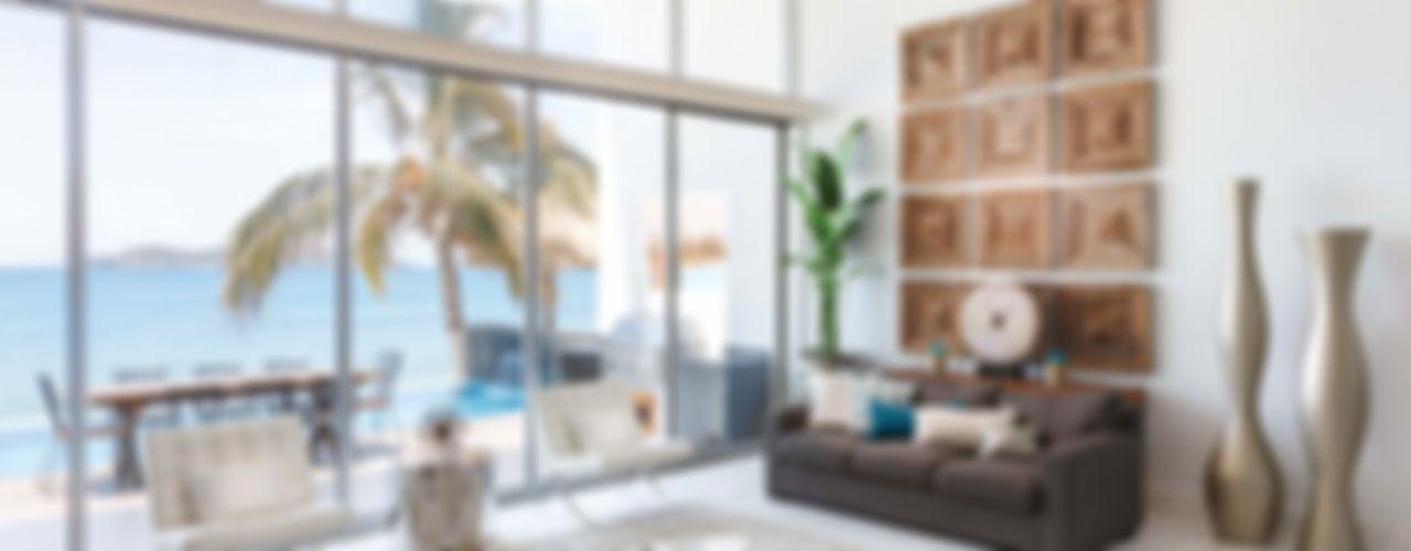 Imativa Arquitectos Modern Living Room Glass White