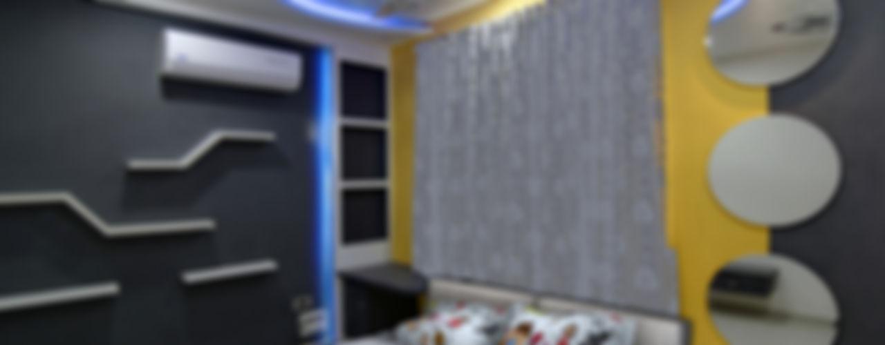 A SIMPLE AND ELEGANT TRIPLEX VILLA KREATIVE HOUSE Modern style bedroom Plywood Grey
