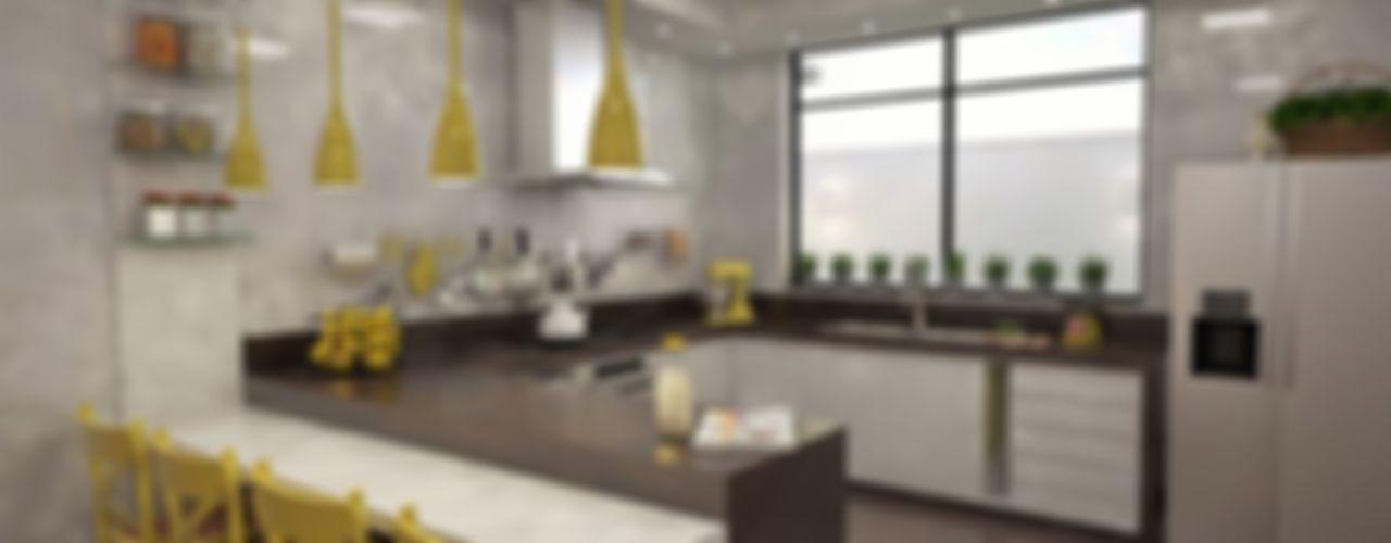 Ao Cubo Arquitetura e Interiores 現代廚房設計點子、靈感&圖片 陶器 Yellow