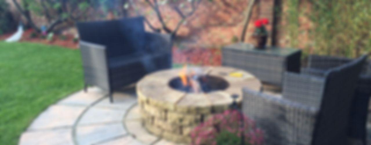 1.2m rustic sandstone firepit Lithic Fire Jardines rústicos Arenisca