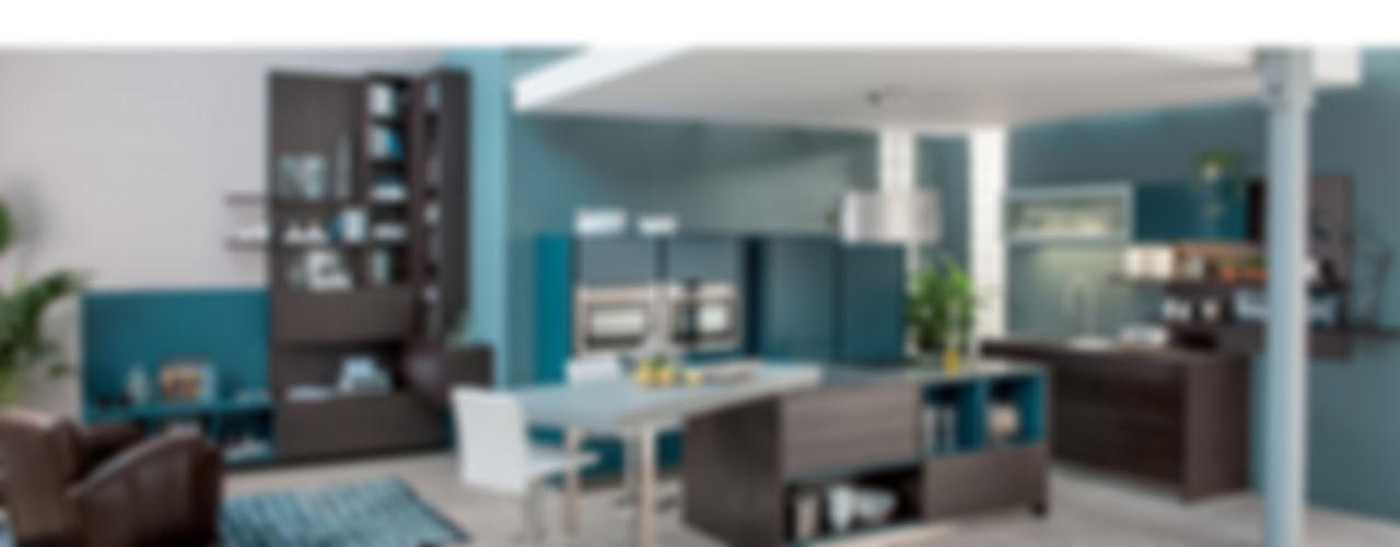 Wood effect open plan kitchen with island Schmidt Kitchens Barnet Modern style kitchen MDF Wood effect