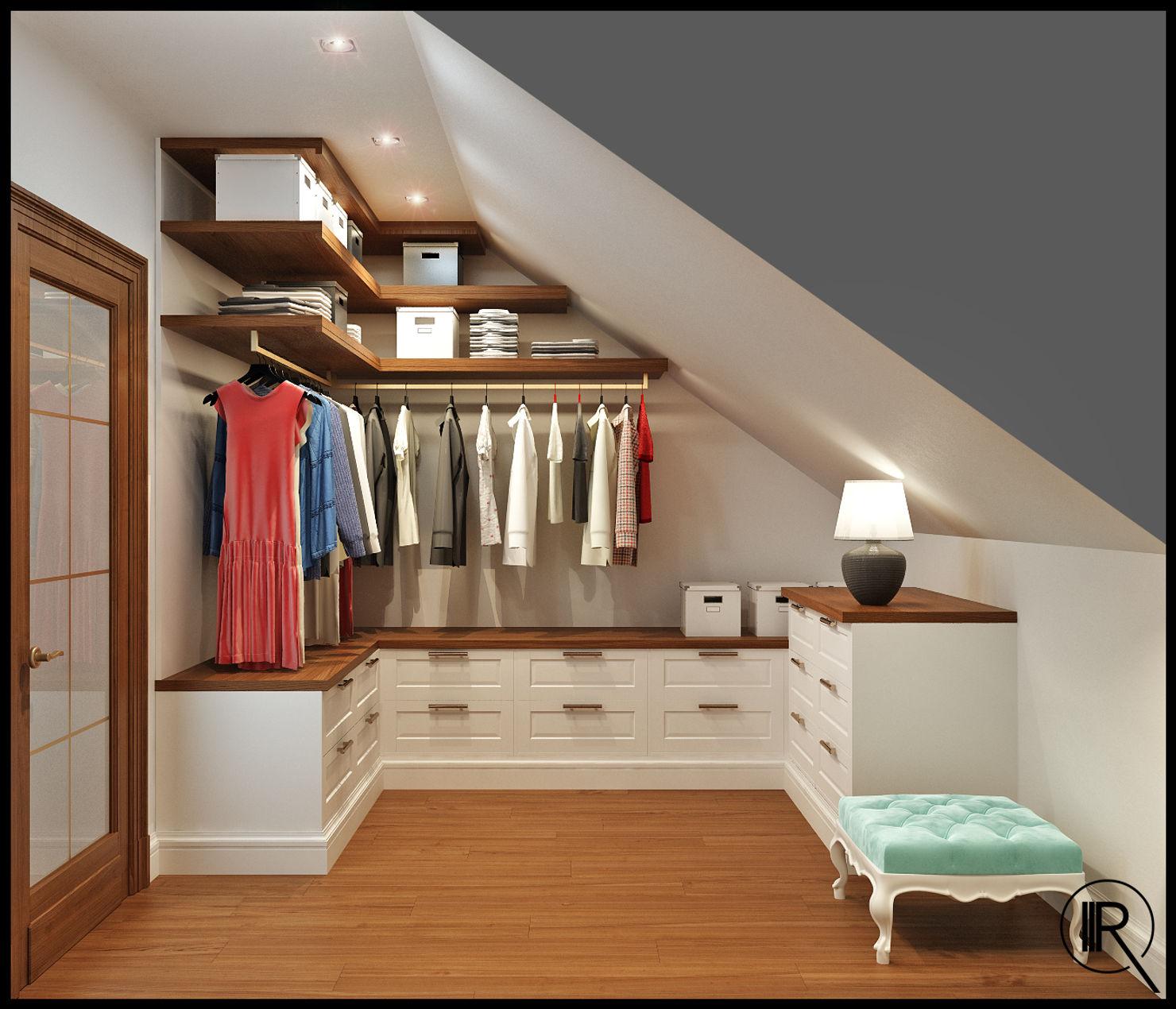 Гардеробная комната со скошенной крышей фото
