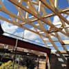 Roof Trusses being fitted:   by Jenny McIntee Architectural Design