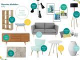 Planche mobilier style scandinave - Coin salon: Salon de style de style Scandinave par Angèle Ethuin - Designer d'intérieur & Coloriste