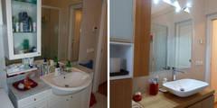 Il bagno prima e dopo: Soggiorno in stile in stile Moderno di Studio Massimo Rinaldo architetto
