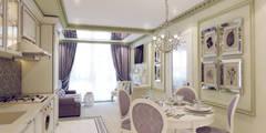 Атмосфера весны в однокомнатной квартире: Кухни в . Автор – Volkovs studio