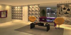 Projekty,  Korytarz, przedpokój i schody zaprojektowane przez Monte Arquitetura
