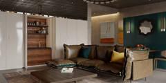 Salas de estilo industrial por Anna Clark Interiors