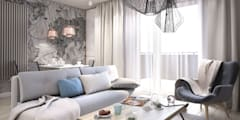 przytulny salon: styl , w kategorii Salon zaprojektowany przez MIKOŁAJSKAstudio