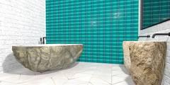 Wanna i umywalki z kamienia rzecznego: styl , w kategorii  zaprojektowany przez Lux4home™