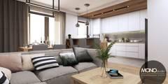 Salon otwarty na kuchnię w nowoczesnym, ciepłym klimacie: styl , w kategorii Salon zaprojektowany przez MONOstudio