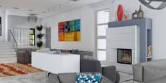 Загородный дом 1 этаж Новорижское шоссе 19 км: Гостиная в . Автор – Архитектурное Бюро Капитель
