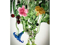 Fruit and Flowers custom glass chandelier:   by A Flame with Desire