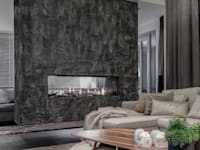 Scrusted fireplace:   door Dofine wall | floor creations