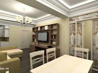 Гостиная в многокомнатной квартире. Сочи: Столовые комнаты в . Автор – Lidiya Goncharuk