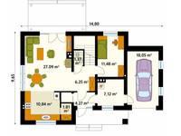 Rzut parteru projektu domu Indygo 3: styl , w kategorii Ściany i podłogi zaprojektowany przez Biuro Projektów MTM Styl - domywstylu.pl