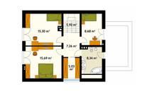 Rzut poddasza projektu domu Indygo 3: styl , w kategorii Ściany i podłogi zaprojektowany przez Biuro Projektów MTM Styl - domywstylu.pl