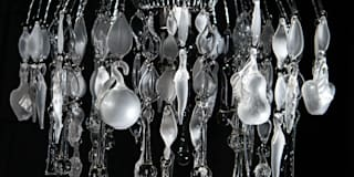 Domestic Bliss, custom waterfall style glass chandelier:   by A Flame with Desire