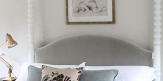 Coniston poster bed with upholstered headboard:   by TurnPost