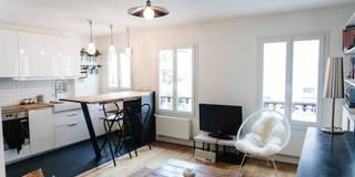 Cuisine ouverte sur salon: Salon de style de style Moderne par Lise Compain