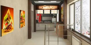 Зона готовки и выдачи  заказа.: Ресторации в . Автор – Мастерская архитектуры и дизайна FOX