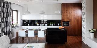 ORZECHOWY BRĄZ: styl , w kategorii Jadalnia zaprojektowany przez Ludwinowska Studio Architektury